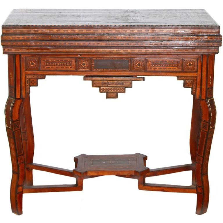 Antique Syrian Folding Games Table For Sale
