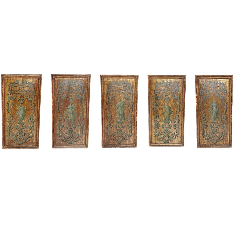 Italian Neoclassical Paint and Parcel Gilt Panels / Roman Goddesses / Muses For Sale