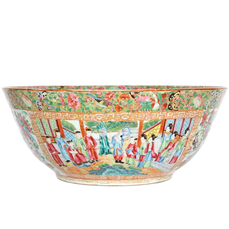 Large 'Canton Famille Rose' Punch Bowl, Mid-19th Century For Sale