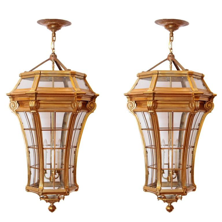 Large Pair of Louis XIV Style Gilded Bronze Lanterns For Sale