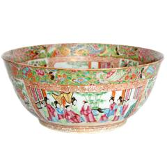 'Canton Famille Rose' Punch Bowl, Mid-19th Century