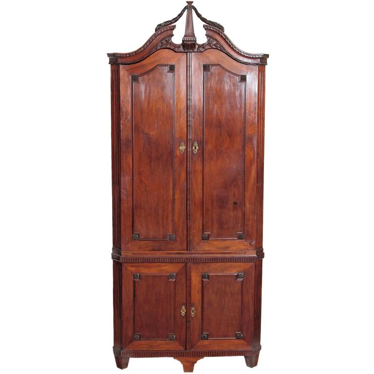 18th Century Continental Mahogany Corner Cabinet