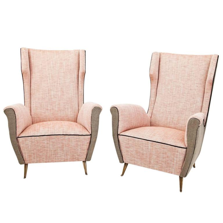Armchairs Attributed to Isa Bergamo in the Style of Gio Ponti, Italy
