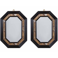 Handsome Pair of Marble Inlaid, Italian Mirrors