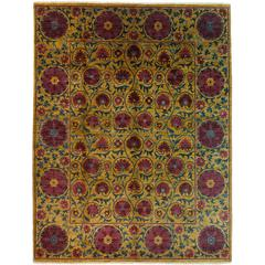 Suzani, Hand-Knotted Area Rug