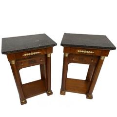 Pair of French Empire Style Mahogany Bedside Tables