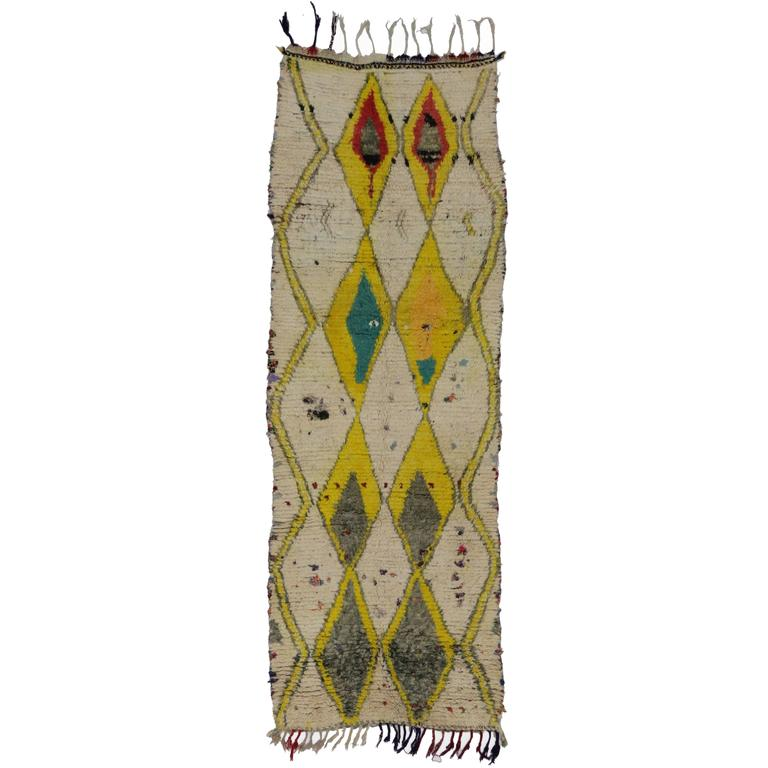 Boho Chic Vintage Berber Moroccan Runner with Tribal Style