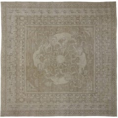 Transitional Style Rug with Khotan and Chinese Foo Dog Design, Square Rug