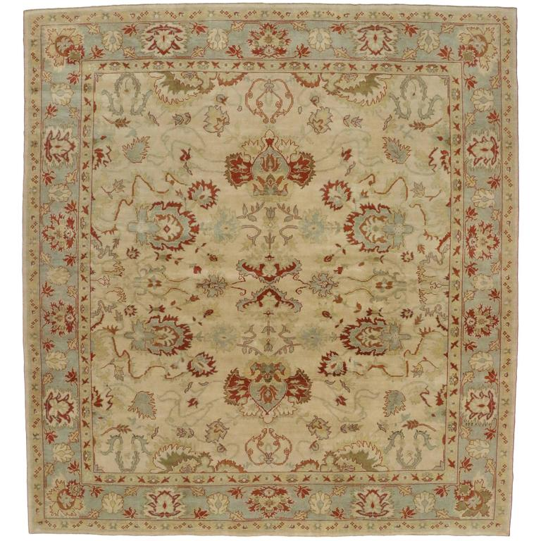 Modern Turkish Oushak Rug with Transitional Style, Square Rug In New Condition For Sale In Dallas, TX