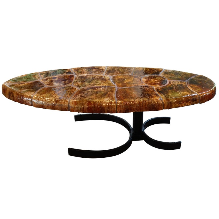 Tortoise design oval shape coffee table italy mid century for sale at 1stdibs Oval shaped coffee table