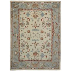 Contemporary Turkish Oushak Rug with Modern Style and Coastal Colors