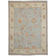 Contemporary Turkish Oushak Rug with Transitional Style in Coastal Colors