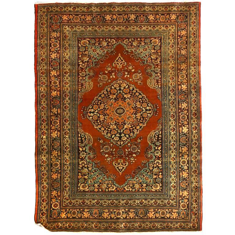 Antique Persian Tabriz Haji Jalili Rug, circa 1880s For Sale