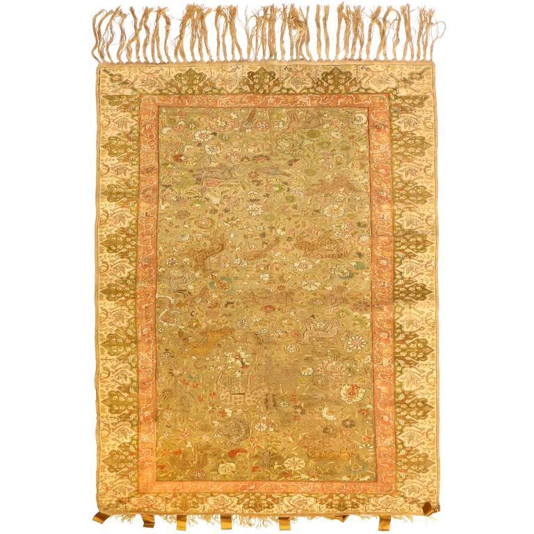Antique Turkish Silk Kaiseri Rug, circa 1880s 1