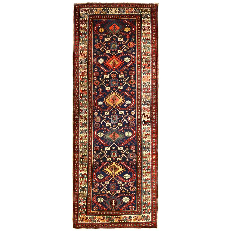 Antique Caucasian Kazak Runner, circa 1870s 1