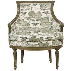 19th Century French Louis XVI Style Green Bergère Armchair