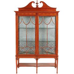 Outstanding Quality Inlaid Satinwood Display Cabinet