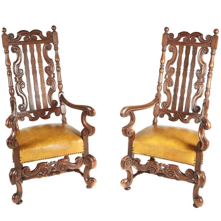 Large Pair of Charles II Style Oak Armchairs