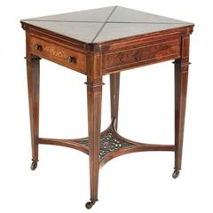 Rosewood and Marquetry Inlaid Envelope Card Table