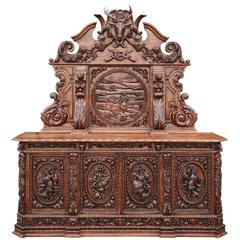 Large and Impressive Carved Oak Baronial Sideboard