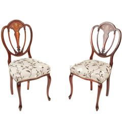 Pair of Mahogany Inlaid Side Chairs