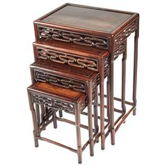 Beau Set Of Four Chinese Hardwood Tables