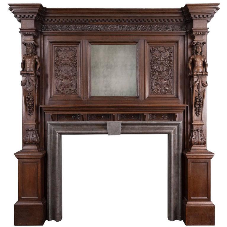 Antique English Oak Mantelpiece