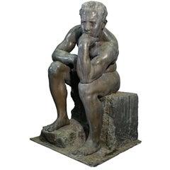 """The Thinker"" Huge Bronze Sculpture by Ernesto Bazzaro, 1926, Milan Italy"