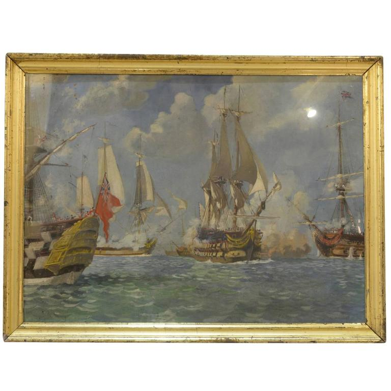 Oil Painting Depicting the Battle of Trafalgar