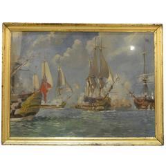 Oil Painting Depicting the Battle of Trafalgar