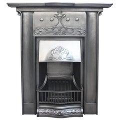 Reclaimed Edwardian Art Nouveau Cast Iron Fireplace