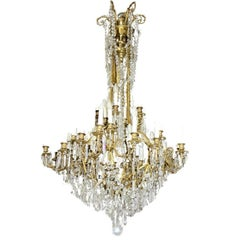 Gilt-Bronze and Crystal Thirty-Six-Light Chandelier
