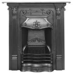 Antique Edwardian Art Nouveau Cast Iron Combination Fireplace