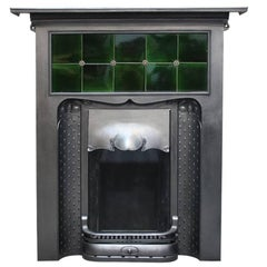 Unusual Original Arts & Crafts Cast Iron Fireplace