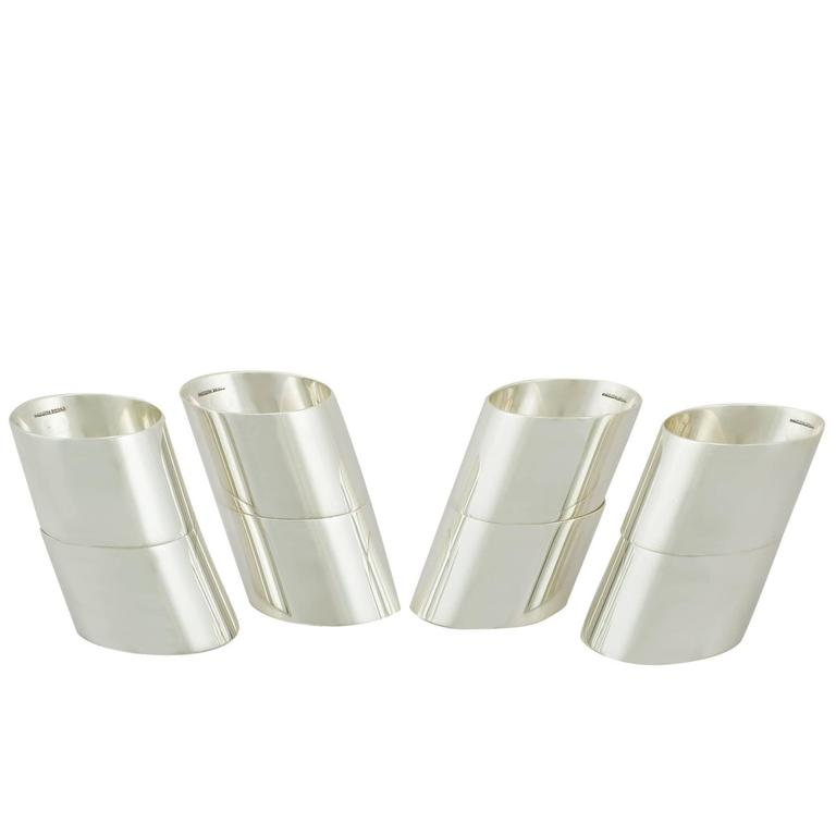 2000s Scottish Sterling Silver Napkin Rings Set of Eight