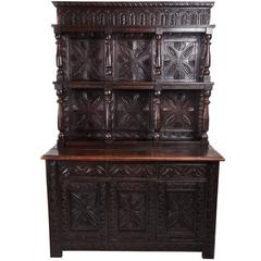 Large Antique Carved Oak Dresser