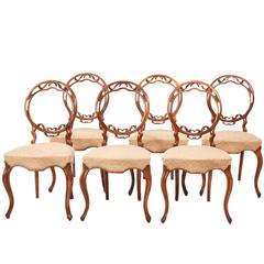 Fine Quality Set of Six Victorian Walnut Dining Chairs
