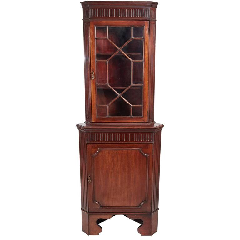 Edwardian Mahogany Glazed Corner Cabinet. Antique Mahogany Display ... - Antique Display Cabinet On Stand, English, Edwardian, Glazed