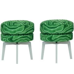Malachite Upholstered Swivel Ottomans