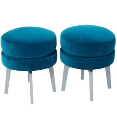 Malachite Upholstered Swivel Ottomans
