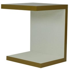 Minimalist End Table in Faux Bronze Lacquer and White Embossed Wallcover