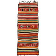 Vintage Berber Moroccan Kilim Rug with Tribal Boho Chic Style, Gallery Rug