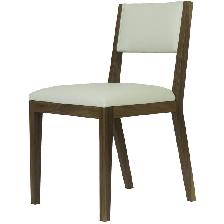 Cream Leather Dining Room Chairs: Scandinavian Modern Walnut And Cream Leather Dining Chair