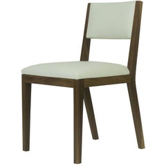 Scandinavian Modern Walnut and Cream Leather Dining Chair
