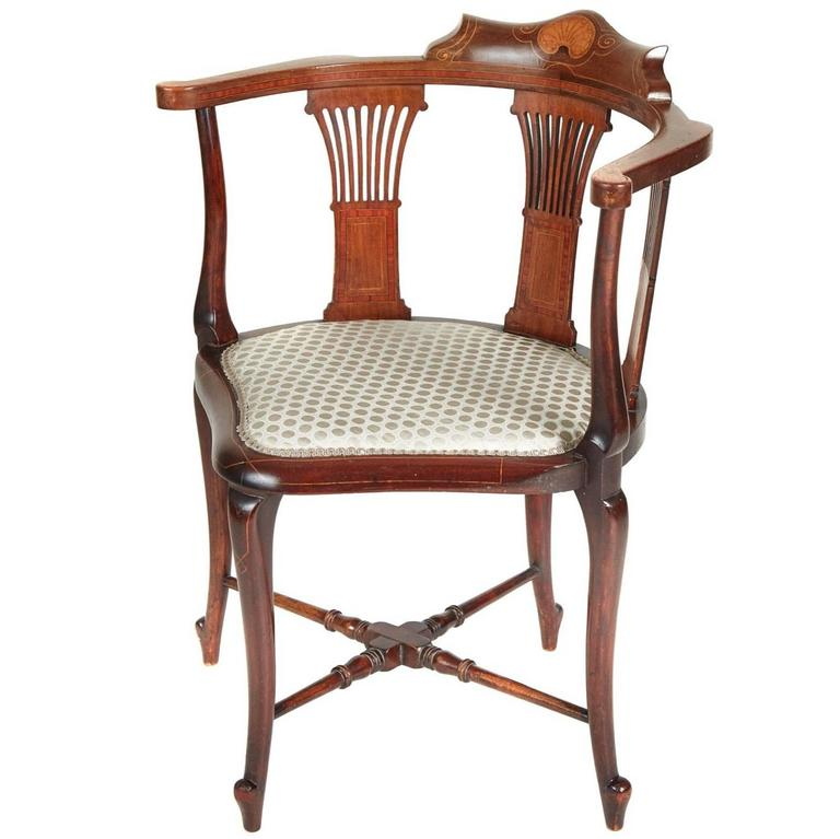 Great Edwardian Mahogany Inlaid Corner Chair For Sale