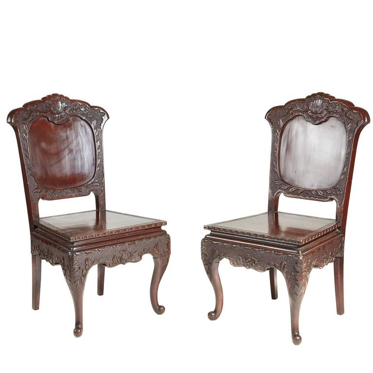 Unusual Pair of Carved Chinese Lacquer Side Chairs