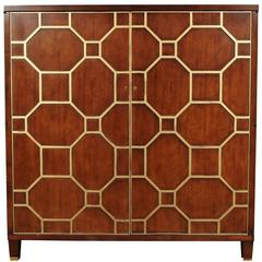 Suzanne Kasler for Hickory Chair Co Cabinet with Gilt Lattice Front Design