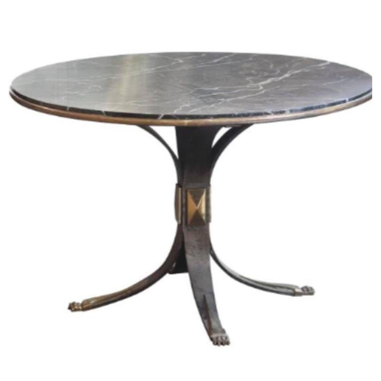 Mid-Century Marble-Top Steel Base Round Side Table, France 1