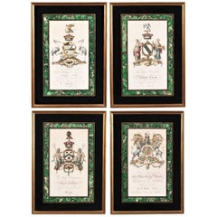 Set of Four Antique Engravings in Reverse Painted Frames