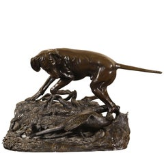 Life-Sized Patinated Bronze Statue of a Hound Hunting a Pheasant